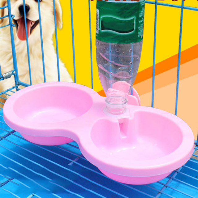 Nice Plastic Double Using Pet Feeder For Feeding And Drinking Non-toxic Material Big Dog Bowl With Water Dispenser Can be fixed