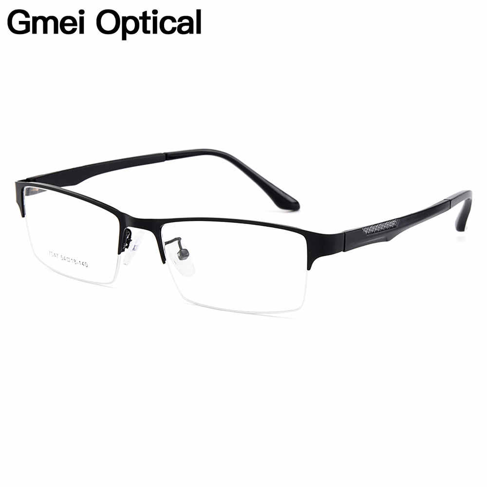 Gmei Optical Men Semi-Rimless Titanium Alloy Glasses Frames for Men Eyewears Flexible Legs IP Electroplating Spectacles Y7047