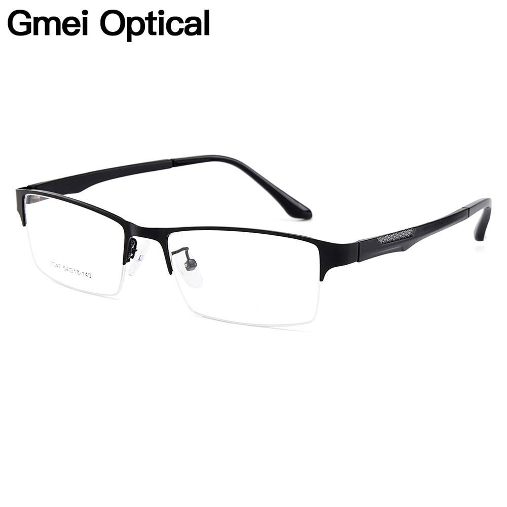 Gmei Optical Men Semi-Rimless Titanium Alloy Glasses Frames For Men Eyewears Flexible Legs IP Electroplating Spectacles Y7047