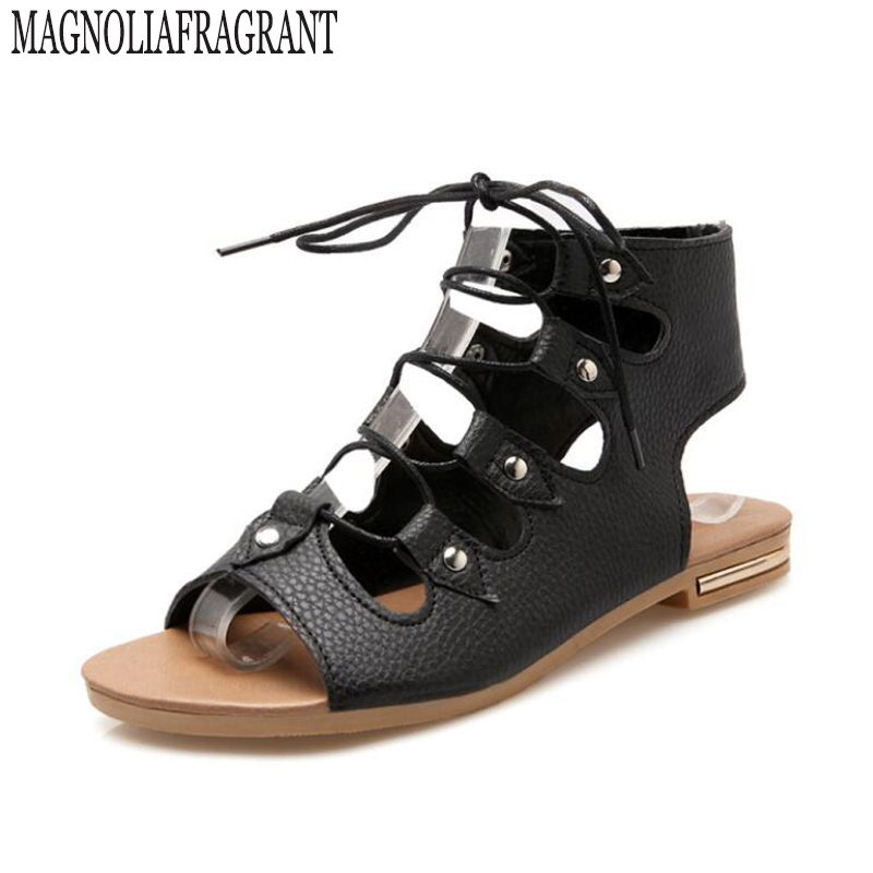 Summer Shoes gladiator sandals women Lacing Sandals  Ladies  Roman School Boots Plus Size 40- 43 women shoes zapatos mujer z26 nayiduyun shoes women cow suede strappy sandals roman gladiator sandals platform wedges creepers party casual shoes summer size