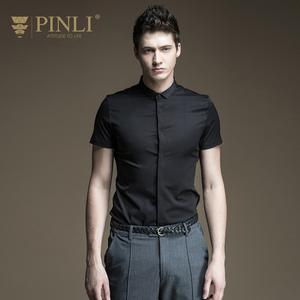 Pinli Men's Shirt Short-Sleeve Morality Made-In-The-Summer of B172113312 Cultivate Pure-Color