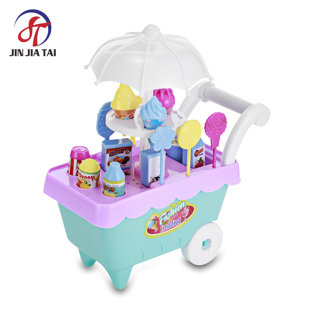 Kids Household Playset Simulation Toys Pretend Play Kitchen Toys Candy Ice Cream Cart With LED Light ice cream cart toy