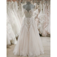 2019 Graceful Lace Appliques Tulle Wedding Dress Backless Spaghetti Strap A Line Sweep Train Long Bridal Gowns Robe De Mariee