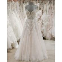 Vestido de noiva com renda apliques tule, de alça espaguete, longo