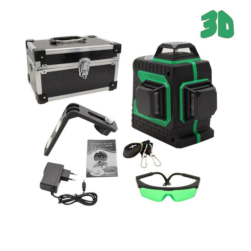 DAFLASHSMILE 3D 12 Lignes Niveau Laser Auto-Nivellement 360 Horizontal Et Vertical Croix Super Puissant Laser Vert Faisceau Forte ligne