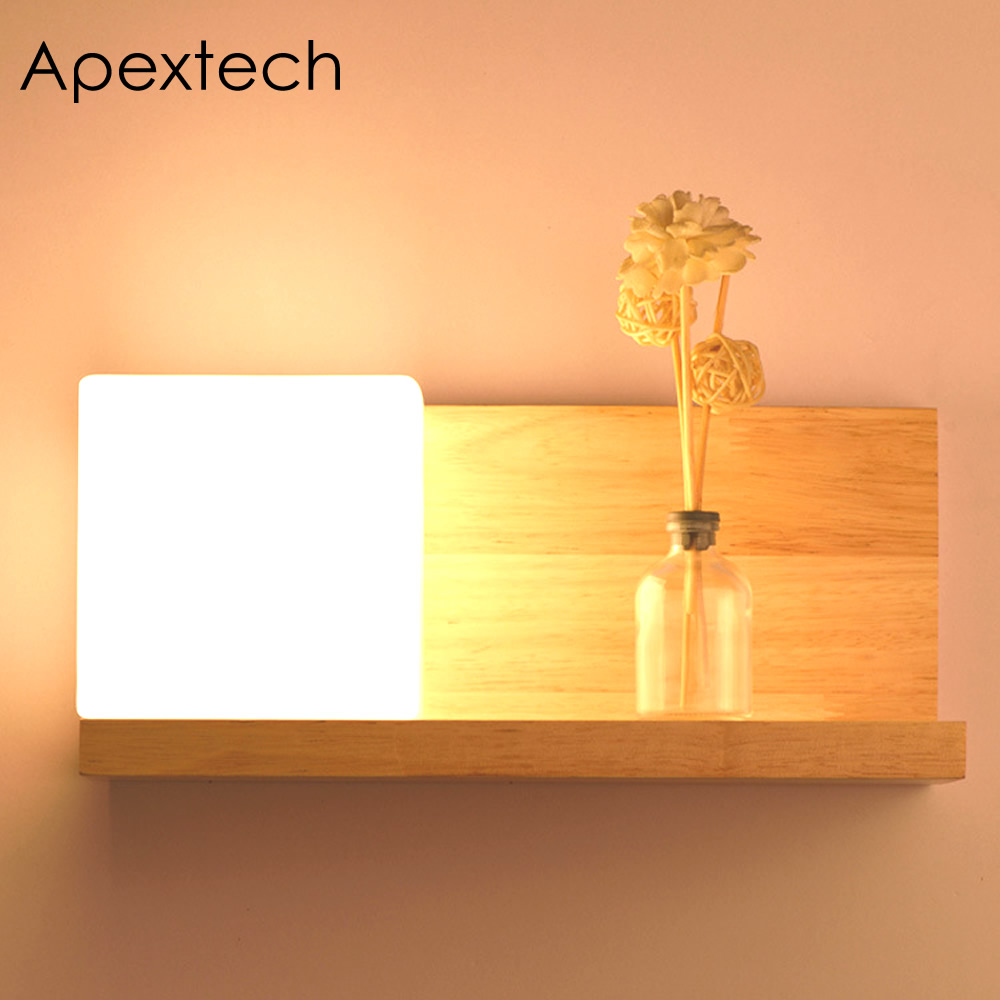 Apextech Bedside Wood Wall Lamp Storage Rack E27 Socket Bed Room Night Light Frosted Glass Shade Modern Nordic Style Home Lights plywood