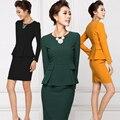 Envío gratis ropa mujer set 2016 trajes vestido de moda otoño ensemble femme corea del OL uniformes 2 unidades set women work wear