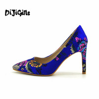 Top Quality Elegant Embroidery 13 Color Women Pumps Pointed Toe Thin High Heels 2018 New Fashion