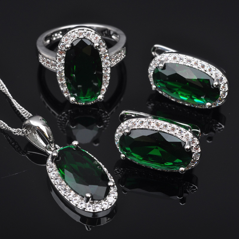 FAHOYO Elegant Green Stone Zircon Women's 925 Sterling Silver Jewelry Sets Earrings/Pendant/Necklace/Rings Free Shipping QZ0169