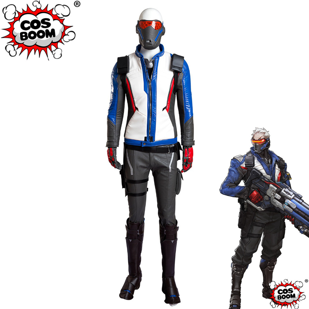 COSBOOM Game OW Cosplay Costume  Soldier 76 Outfit Halloween Carnival Jacket Superhero OW Soldier 76 Cosplay Costume