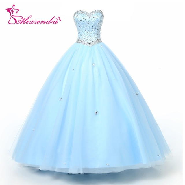2f834b2f874 Alexzendra Beaded Bodice Light Blue Ball Gown Quinceanera Dresses  Sweetheart Gorgeous Quinceanera Dresses
