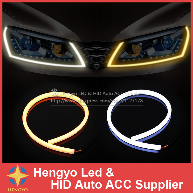 External Lights 60CM LED Flexible DRL Strip LED Daytime Running Light With Turn Signal LED Tube Light White Amber Switchback DRL