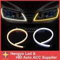 Luzes externas 60 CM LED Flexível Tira DRL LED de Circulação Diurna luz Com Sinal de Volta Âmbar Switchback LEVOU Tubo de Luz Branca DRL