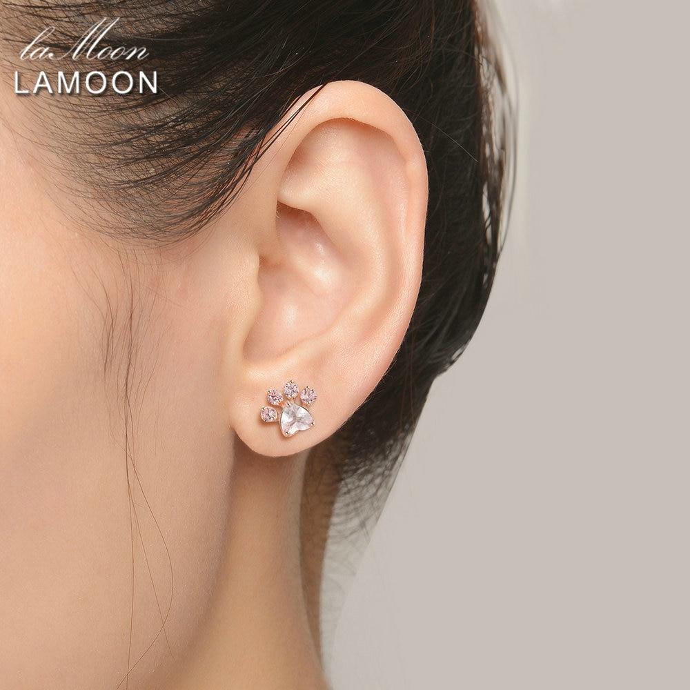 LAMOON Bear s Paw 925 Sterling Silver Earrings For Women Natural Rose Quartz Stud Earrings Gemstone LAMOON Bear's Paw 925 Sterling Silver Earrings For Women Natural Rose Quartz Stud Earrings Gemstone Earings Fine Jewelry EI040-2