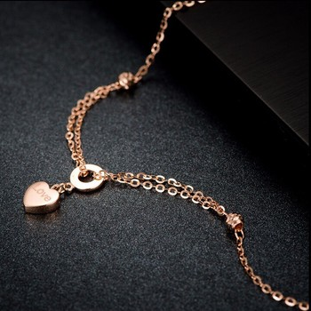 Pure Italy18k Rose Gold Bracelet/ Craved heart Link Chain Bracelet/2g  Hot sale 2