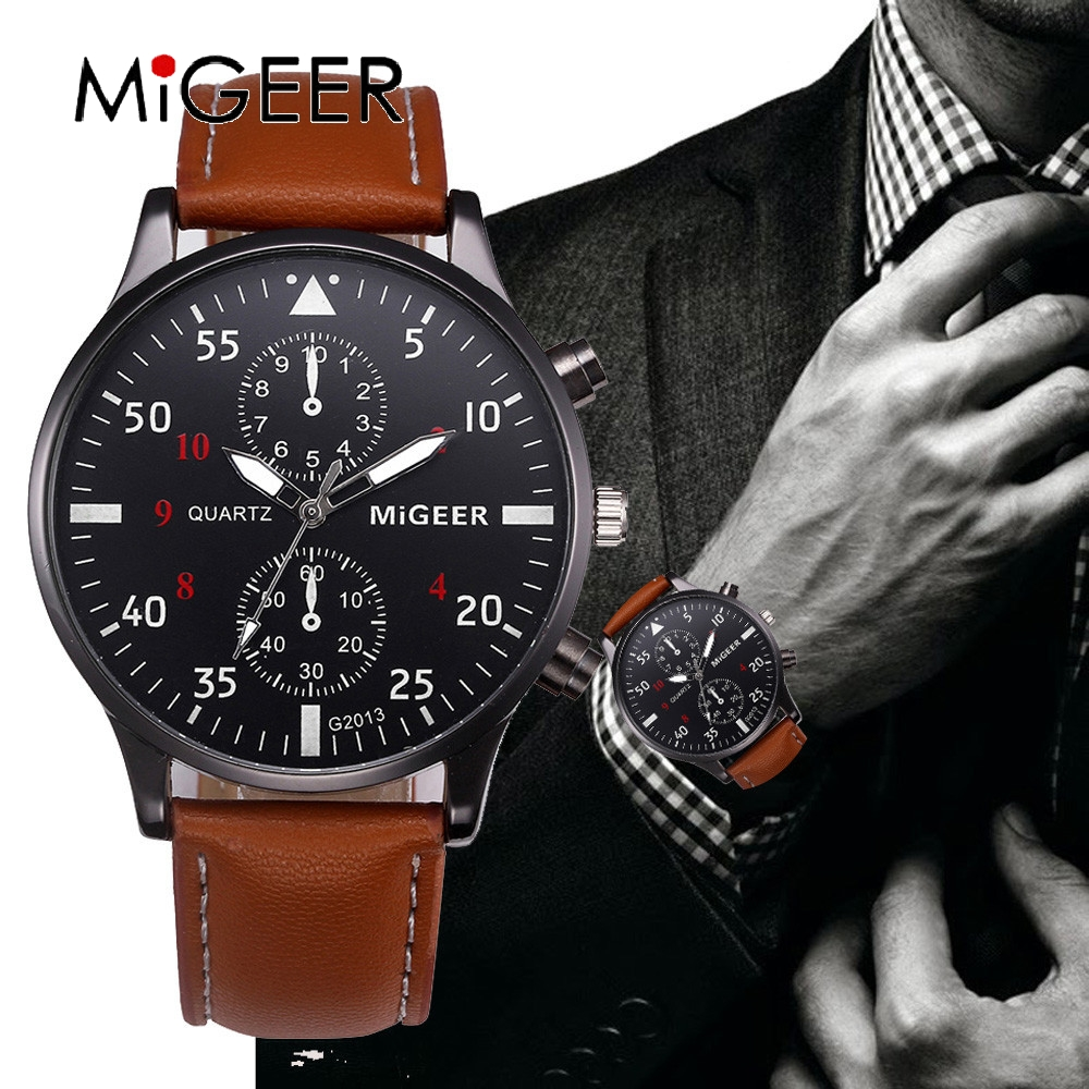 MIGEER 2020 Fashion Casual Mens Watches Luxury Leather Business Quartz-Watch Men  Military Sport Wristwatch Relogio Masculino