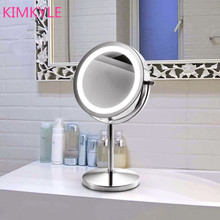 Fashion hot-selling quality 7inches led make-up desktop mirror with light 2-Face mirror bathroom Battery power