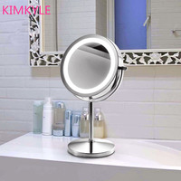 SpringQuan Fashion hot selling quality 7inches led make up desktop mirror with light 2 Face mirror bathroom Battery power