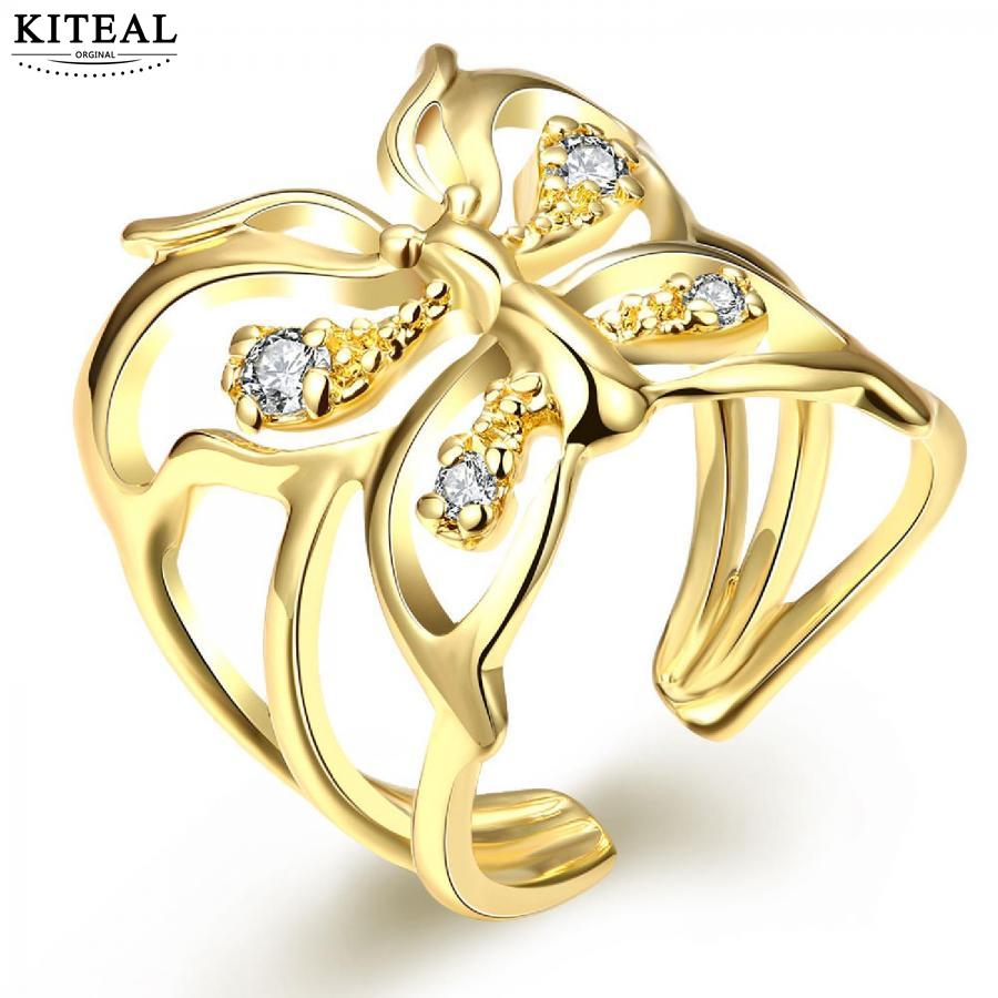 Fashion New Brand Design Luxurio Yellow Gold Color & Silver Plated Wedding  Rings Butterfly Men Ring