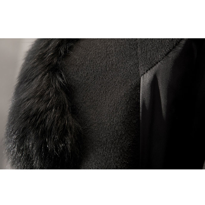 Coat Botonadura Lana Otoño Cinturón Piel Casual Nuevo Chaqueta Cardigan Mujeres Con Doble Elegante De Beige Grande Cuello Blend Abrigo negro Invierno Capucha Largo xFwtTvq8