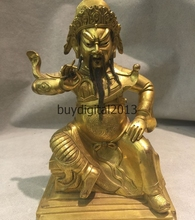 Китай Народная Бронзовый Золотой Воин Бог Гуань Гун Гуань Юй Пин Чжоу Кан Статуя Набор
