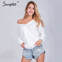 Simplee Winter Short Knitted Sweater Women 2016 Autumn White Hollow Out Pullover Sexy Deep V Neck