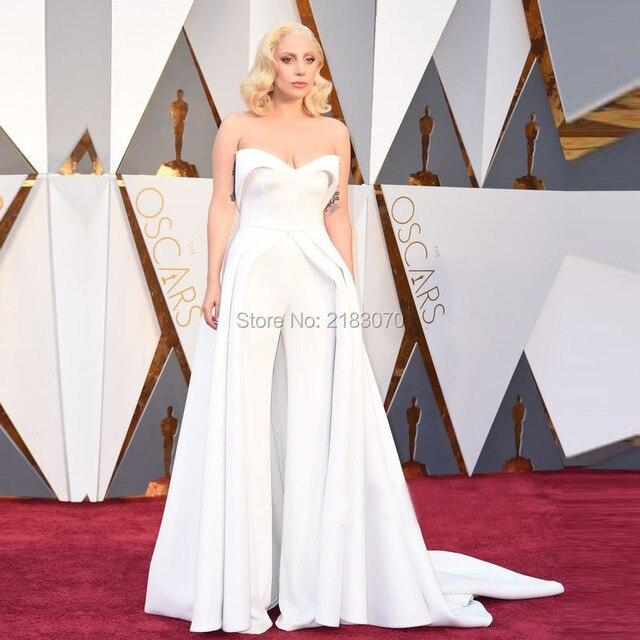 2016 88th Oscar Lady Gaga Red Carpet Dresses White Two Piece Pant ...