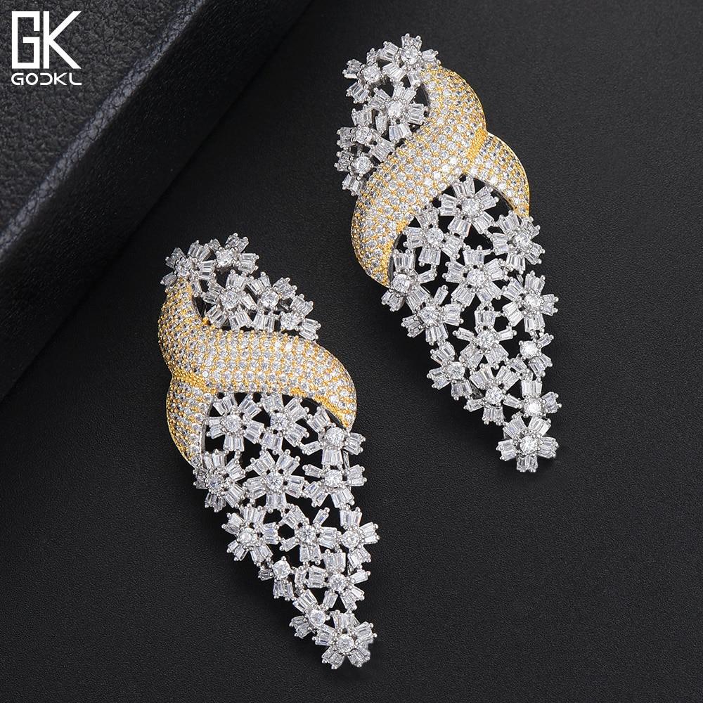 GODKI Bohemian Snowflake Long Statement Dangle Drop Earrings Luxury Cubic Zircon CrystaL CZ Earrings For Women 4 Colors Earrings unique bohemian elephant tassel dangle earrings