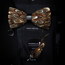 GUSLESON New Fashion Handmade Mens Feather and Leather Bow Tie Brooch Set Pre-tied Bowtie For Wedding Party With Gift Box