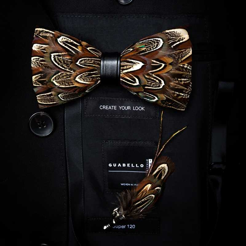 Gusleson Indah Buatan Tangan Bulu Busur Dasi Bros Pin Set dengan Kotak Hadiah Digunakan Diikat Pria Dasi Dasi Kupu-kupu untuk pesta Pernikahan