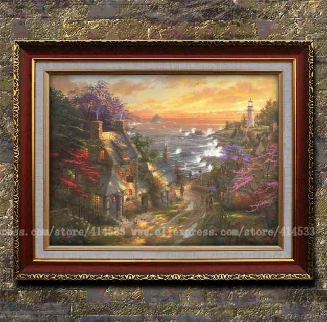 Prints Of Thomas Kinkade Oil Painting The Village Lighthouse Landscape Modern Wall Hotel Home