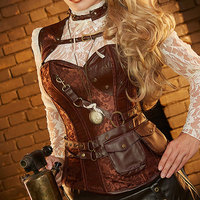 Brown Bustier Steampunk Corset Steel Boned Overbust Corset Gothic Clothing Korsett For Women Sexy Plus Size