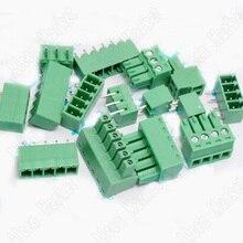 500pcs 15EDG 3.81mm Pluggable Copper Terminal Blocks 2EDG 2p, 3p, 4p, 5p, 9p, 10p Green