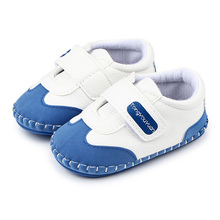 Simple Leather Comfortable Patchwork Soft TPR Sole Toddler Baby Boy First Walker Sports Shoes  0-15 Months