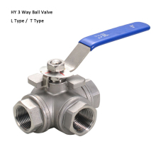 "1/2"" 3/4"" 1"" Stainless Steel 3 Way Ball Valve, ss304 3pcs Thread  Ball Valve"