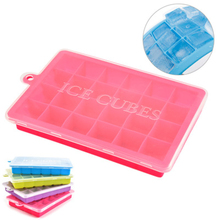 4 Candy Colors Creative Large 24 Grids Food Grade Silicone Ice Tray With Lid Square-shape DIY Ice Mold For Kitchen Tool недорого