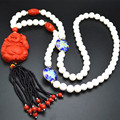 Carved Red Cinnabar Buddha Pendant Blue Cloisonne White Tridacna Glass Seed Beads Tassel Beaded Necklace Jewelry Gift