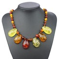 Multicolor Tear Drop Baltic imitation amber Beads Chain Bib Pendant Necklace For Woman Girls Statement  L60901