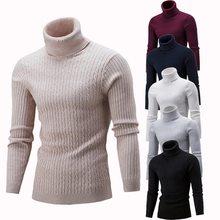 2a302d95c SHUJIN Primavera Quente Camisola de Gola Alta Homens Moda Sólidos Malha  Suéteres Mens 2018 Ocasional Masculina
