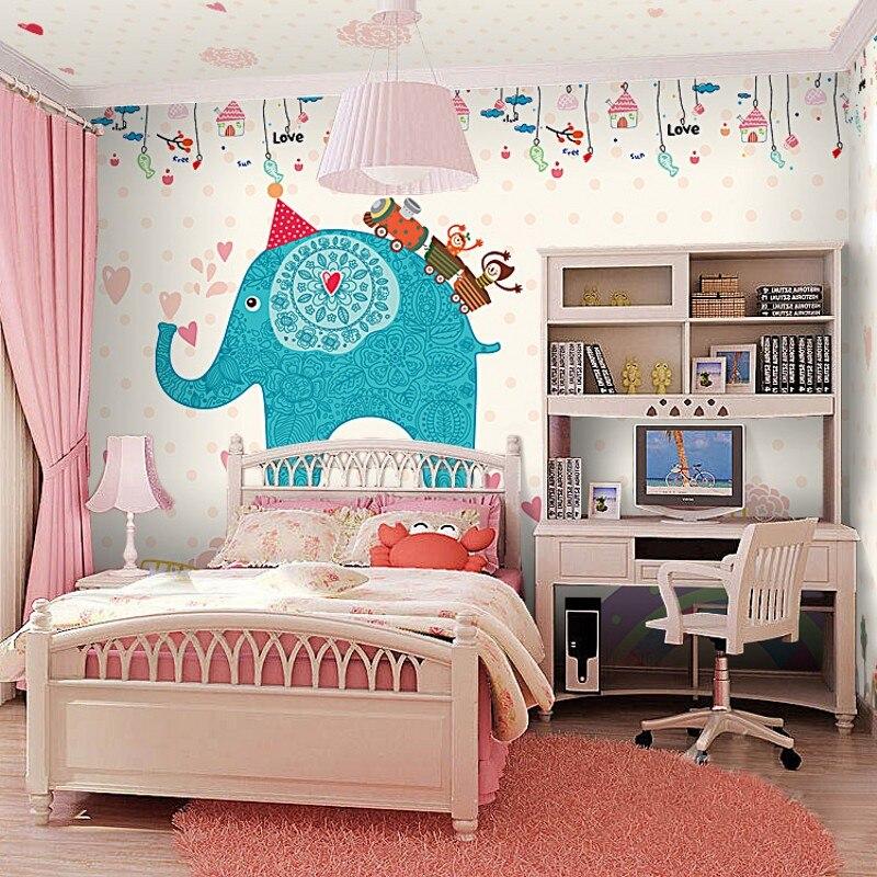 elephant bedroom background pink cartoon theme nursery children murals zoom papel beibehang parede