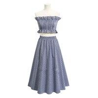 Slim Style 2 Pcs Women Girl Ruffle Strapless Elastic Top Plaid Empire Waist Ankle Length Cotton Skirt Suit Pattern FS0450