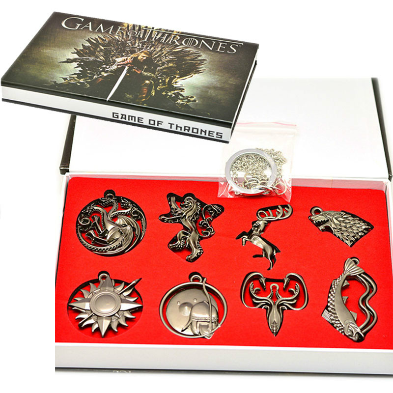 Action Game of Thrones Metal Keychain Toys Crests of House STARK Wolf LANNISTER LION Model Toys Color Boxed Collection Kids Gift image