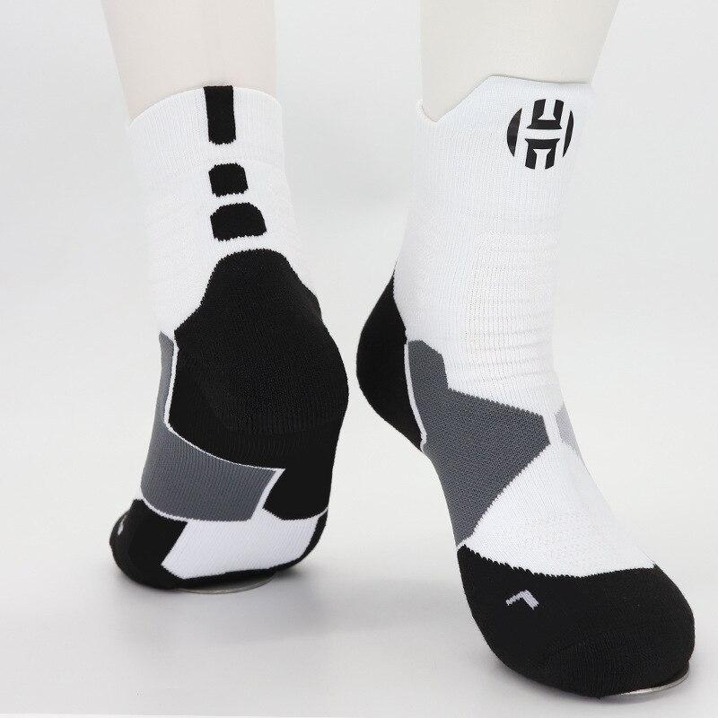 Adult Size Mid Calf Crew Socks James Harden Basketball Thick Sox Player Basket Baller Point Shooting Guard Comfortable Big Feet