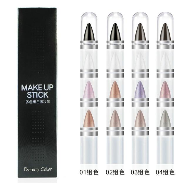 4pcs/box Brand Makeup Multi-functional Shine Glitter Eyeshadow Makeup Eyebrow Pencil Professional Eye Make Up Set