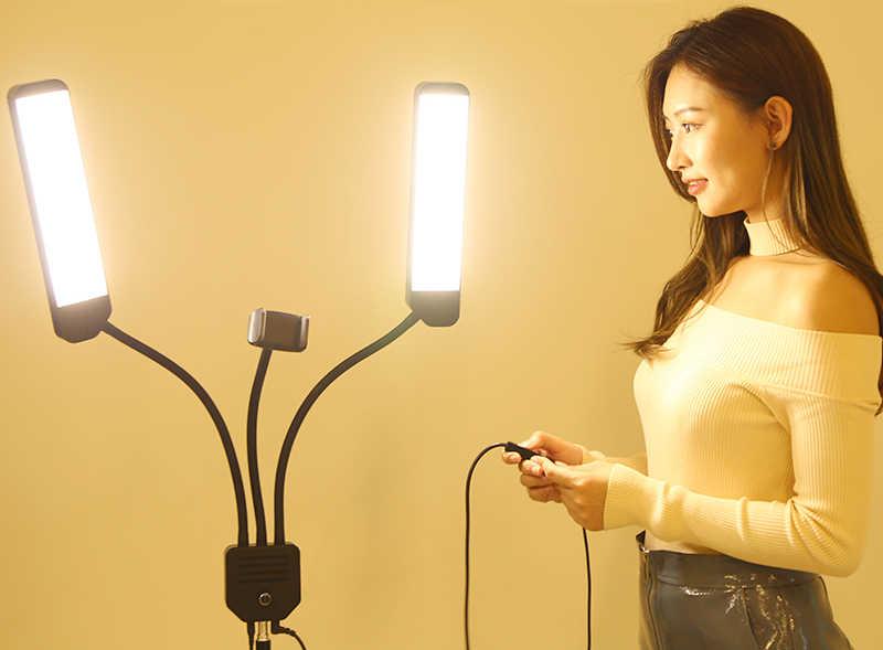 Photo Studio Double Arms Fill lampa pierścieniowa ze statywem 200cm długie listwy LED dodaj stojak 3300 K-5500 K 288PCS LED do aparatu