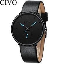 CIVO Fashion Top Brand Luxury Watch Men Ultra Thin Genuine Leather Waterproof Quartz Mens Watches Sport
