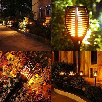 POPPAS 4Pcs Flickering Flame 96 LED Solar Light Waterproof Outdoor Garden Spotlight