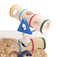 Colorful Wood Hamster Seesaw Tube Tunnel Cage House Hide Play Small Pet Toy Funny Toys For