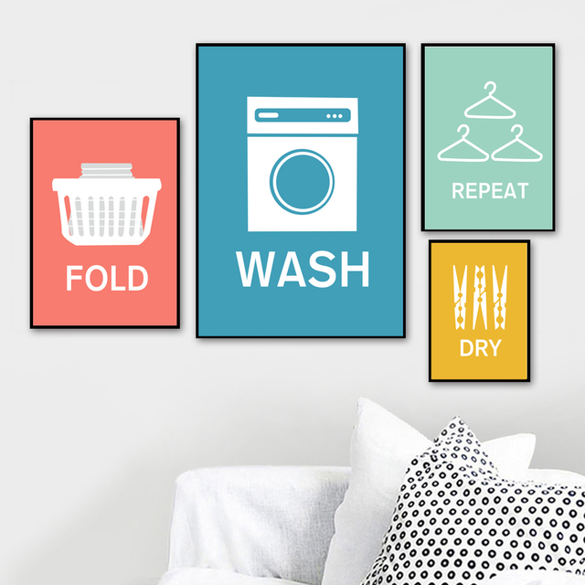Cartoon Wash Fold Repeat Dry Laundry Quotes Wall Art
