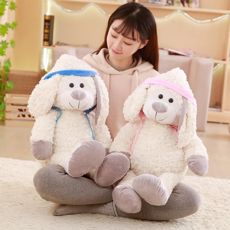 Cute Couple`s Snow Hat Rabbit Plush Toys Valentines Day Presents rabbit doll for Girlfriends Birthday Graduation Season